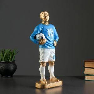 "Фигура ""Футболист вратарь"" бронза с синим, 39см   3184560"