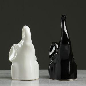 """Набор статуэток """"Слоны Инь-Янь № 1"""", глазурь, бело-чёрный 3789345"""