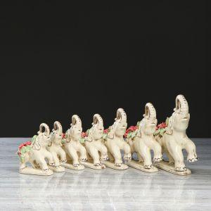 """Набор Сувенир-статуэтка """"Слоны"""" 7 предметов лепка 4285410"""