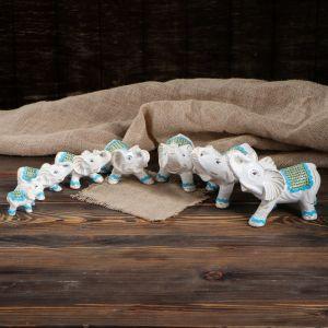 """Сувенир """"Белые слоны"""" набор из 7 шт, микс"""