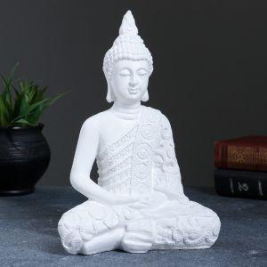 "Фигура ""Будда малый"" 16х9х23см белая  3739373"