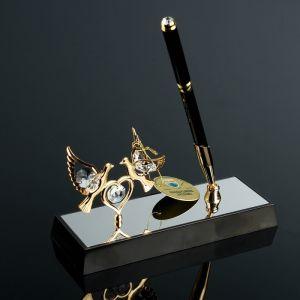 Ручка на подставке «Голуби», 16?6?19 см, с кристаллами Сваровски 4271698