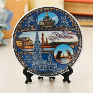 Тарелка сувенирная «Санкт-Петербург», d=10 см