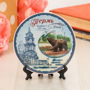 Тарелка сувенирная «Пермь. Медведь», d=10 см