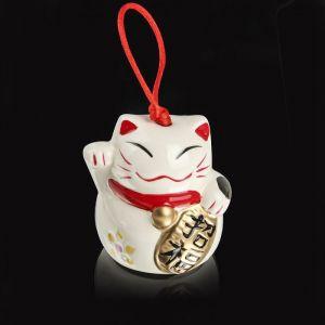 """Сувенир керамика колокольчик """"Манэки-нэко"""" белый 6х6,5х5,5 см 2325507"""