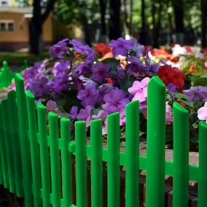 Забор декоративный Полимерсад-8, 1 секция (цвет зелёный)