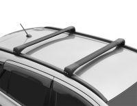 Багажник на интегрированные рейлинги Lada Vesta SW / SW Cross, Lux Bridge, крыловидные дуги (черный цвет)