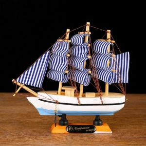 Корабль «Эмма , 16х5х16см, бело-синие паруса   4415137