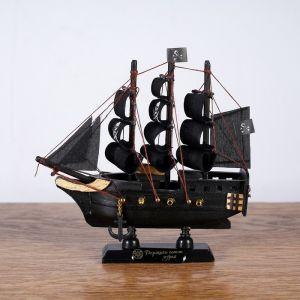 Корабль пиратский шестипушечный «Гангут», черные паруса, 15х4х15см   4415466