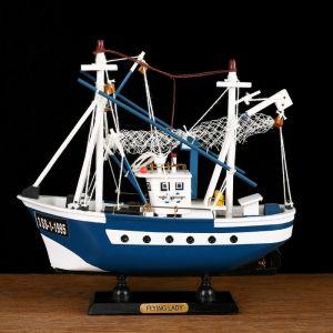 Корабль сувенирный «Ида», малый, голубые борта, сетка 565353
