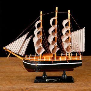 Корабль сувенирный малый «Илия», борта чёрные, паруса бежевые с полосами, 5,5?23,5?23,5 см 127182