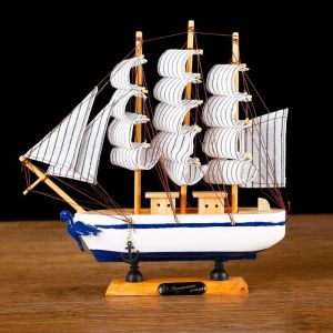 Корабль сувенирный малый «Кагул», борта белые с синими полосами, паруса бежевые, 6?24?23 см 404832