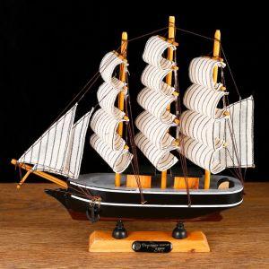 Корабль сувенирный малый «Ковда», борта чёрные с белыми полосами, паруса белые, 5,5?24?22 см 266837