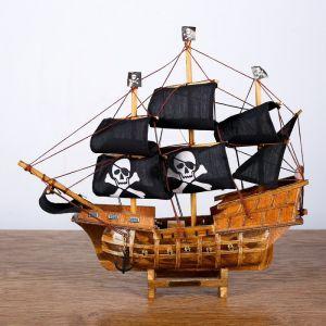 Корабль «Уида», 33х8х29 см, пиратский, черные паруса   4415140