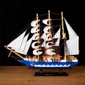 Корабль сувенирный средний «», борта бело-синие, паруса белые, 43х39 х 9 см 1154504