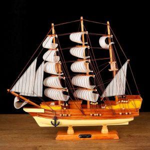 Корабль сувенирный средний «Диана», светлое дерево, паруса бежевые, 10?50?45 см 444362