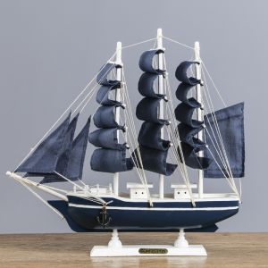 Корабль сувенирный средний «Калева», борта синие с голубой полосой, паруса синие, 30х7х32 см 417208