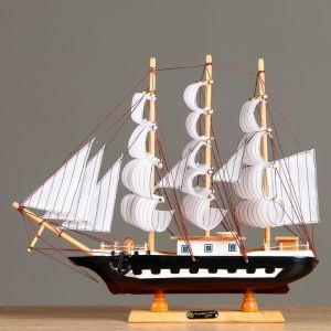 Корабль сувенирный средний «Колхида», борта синие с белой полосой, паруса белые, 40х8х38 см 417236