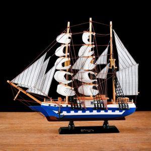 Корабль сувенирный средний «Корсика», борта синие с белой полосой, паруса белые, 43х8,5х37 см 452039
