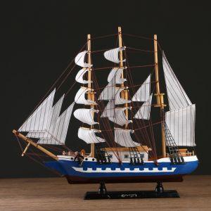 Корабль сувенирный большой «Рион», борта чёрные, паруса бежевые с полосами, 50х44х10 см 1154032