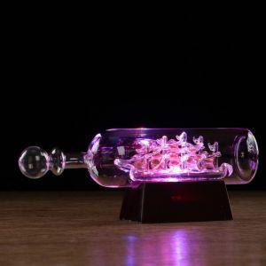 Корабль сувенирный в бутылке с золотистыми парусами «Семь футов под килем», 9 х 25 х 7 см