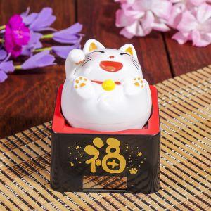 """Маятник пластик от солнечной батареи """"Весёлый кот Манэки-нэко"""" белый 10х8,5х8,5 см   4098247"""