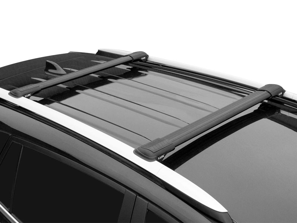 Багажник на рейлинги Mitsubishi Pajero 4 (2006-...), Lux Hunter, черный, крыловидные аэродуги