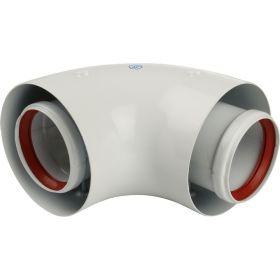STOUT Элемент дымохода DN60/100 адаптер для котла угловой 90° коаксиальный