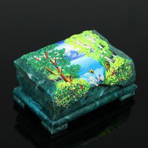 "Ларец ""Лето"" 15х10х7 см, каменная крошка, змеевик 3956932"
