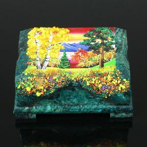 "Ларец ""Осень"" 15х10х7 см, каменная крошка, змеевик 3956933"