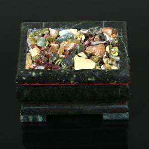 """Ларец """"Самоцветы"""" 11х8,5х7 см, натуральный камень, змеевик 3956913"""