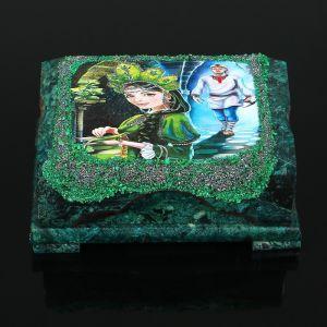 """Ларец """"Хозяйка медной горы №3"""" 15х10х7 см, каменная крошка, змеевик 3956990"""