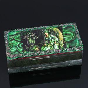"Ларец ""Хозяйка медной горы"" 15х7х5,5 см, натуральный камень, змеевик 3956924"