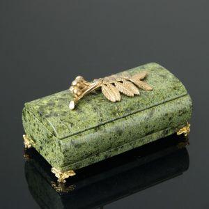 "Шкатулка ""Рябинка"", со съемной крышкой, 14,5х7,5х8 см, змеевик 4204320"