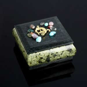 "Шкатулка ""Самоцветы"", 10х10х6 см, змеевик 4022883"