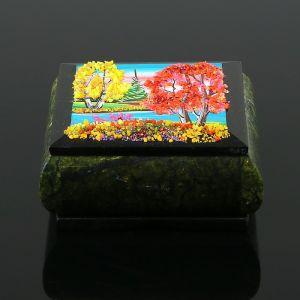 """Шкатулка с пейзажем """"Осень"""", каменная крошка, змеевик 3956907"""