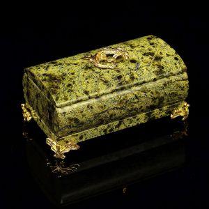 Шкатулка цилиндрическая, c ящеркой, на ножках, 5х9х5,5 см, серпент 405311