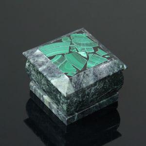Шкатулка, 5х5х3,5 см, змеевик, малахит 4204329