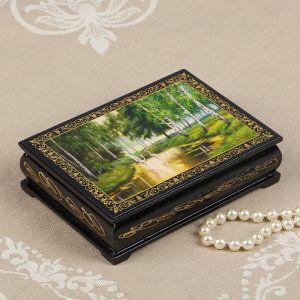 Шкатулка «Аисты в лесу», 10?14 см, лаковая миниатюра 2314276