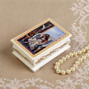 Шкатулка «Ангел с кроликом», белая, 6?9 см, лаковая миниатюра 3696434