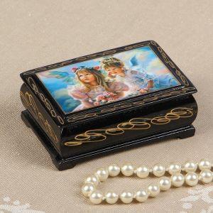 Шкатулка «Ангелочки с цветами», 6?9 см, лаковая миниатюра 2663987