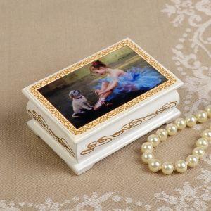 Шкатулка «Балерина», белая, 6?9 см, лаковая миниатюра 3696436
