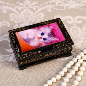 Шкатулка «Белый котенок на розовом пледе», 6?9 см, лаковая миниатюра 4815071
