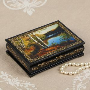 Шкатулка «Берег озера», 10?14 см, лаковая миниатюра 2314275