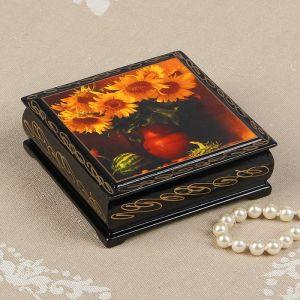 Шкатулка «Букет подсолнухов в вазе», 10?10 см, лаковая миниатюра 2431157