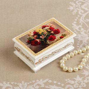 Шкатулка «Букет цветов в вазе», белая, 6?9 см, лаковая миниатюра 3696433