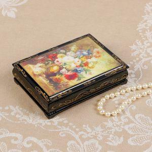 Шкатулка «Букет цветов», 10?14 см, лаковая миниатюра 2407421