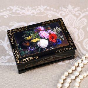 Шкатулка «Букет цветов», 8?10 см, лаковая миниатюра 4815061