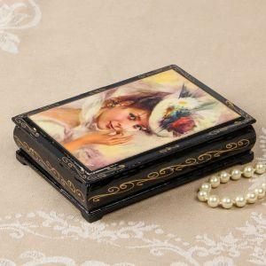 Шкатулка «Дама в шляпке», 10?14 см, лаковая миниатюра 2407452