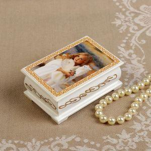 Шкатулка «Девочка с совой», белая, 6?9 см, лаковая миниатюра 3696435